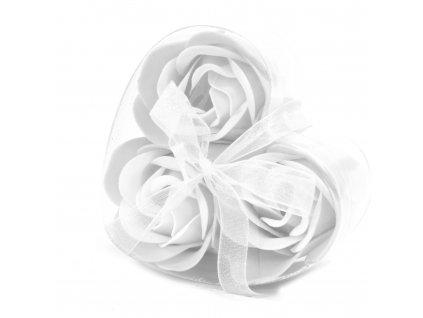 Mýdlové květy bílá  růže-sada 3ks 17g
