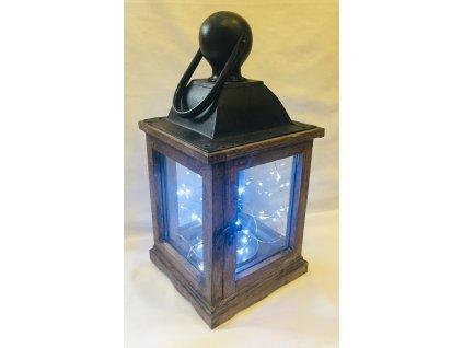 Dřevěná lucerna s kovovou stříškou tmavá 1 ks