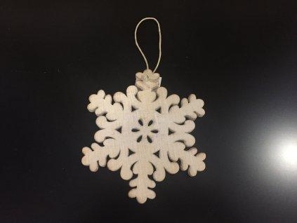 Závěsná sněhová vločka dřevěná 15 cm