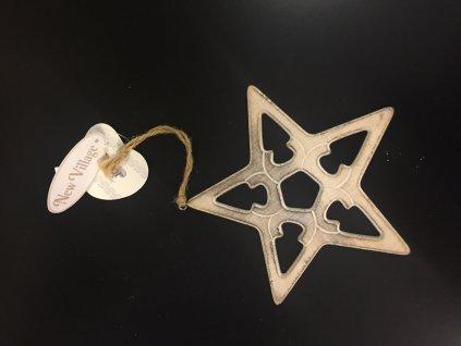 Závěsná dřevěná vánoční hvězda 15 cm