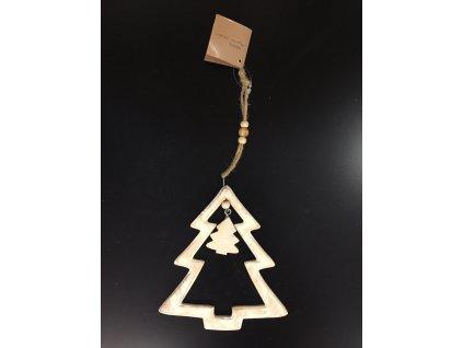 Závěsný dřevěný vánoční strom 14 cm