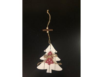 Závěsný dřevěný vánoční strom 12cm