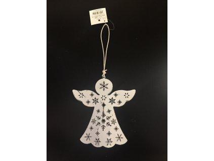 Anděl bílý s hvězdou kovový 15 cm