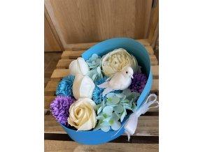 Mýdlová kytice v papírové krabici- kočárek 1ks
