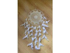 Lapač snů háčkovaný s perličkami 70 cm