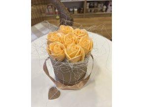 Mýdlová kytice  tulipány v papírové krabičce 1ks