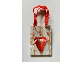 Dárková taška motiv srdce 11x15x6 cm
