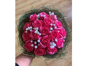 Mýdlová kytice růže s dekorací 1ks
