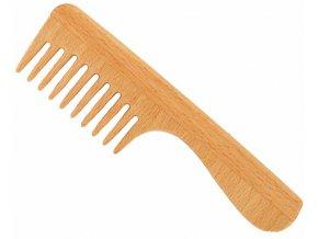 Vlasový hřeben z bukového dřeva s řídkými zuby s rukojetí