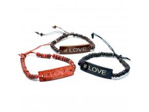 Kokosový Náramek se Sloganem - #Love 1ks