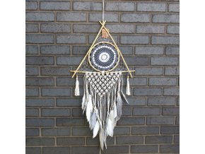 Lapač snů pyramida bílá+šedá  100 cm