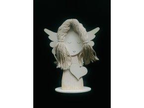 Dřevěná andělka s vlásky 1 ks