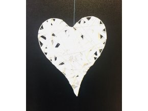 Dekorace srdce papír+drátek 19 x 16 cm