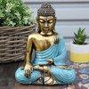 Ručně malovaný Budha- Zlatá+Modrá 22 cm