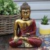 Ručně malovaný Buddha- Zlatá+Červená 22 cm