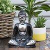 Ručně malovaný Buddha - Černá+Šedá 15 cm