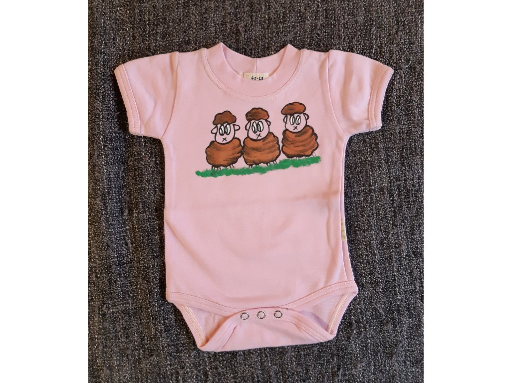 Ručně malované dětské body - tři ovečky