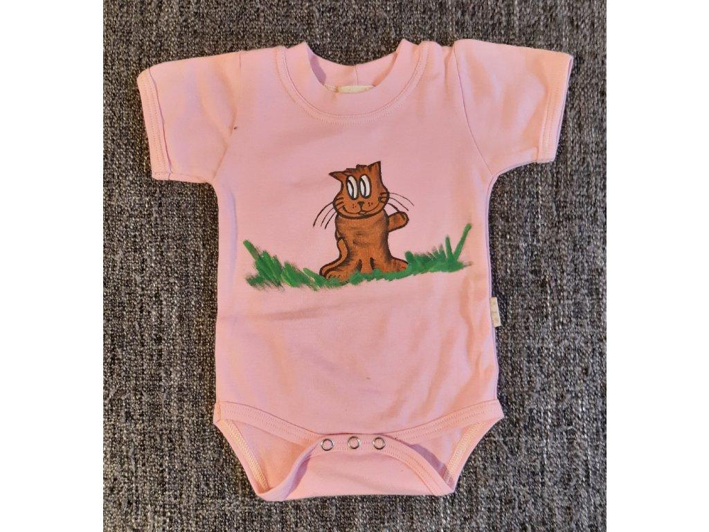 Ručně malované dětské body - kočička