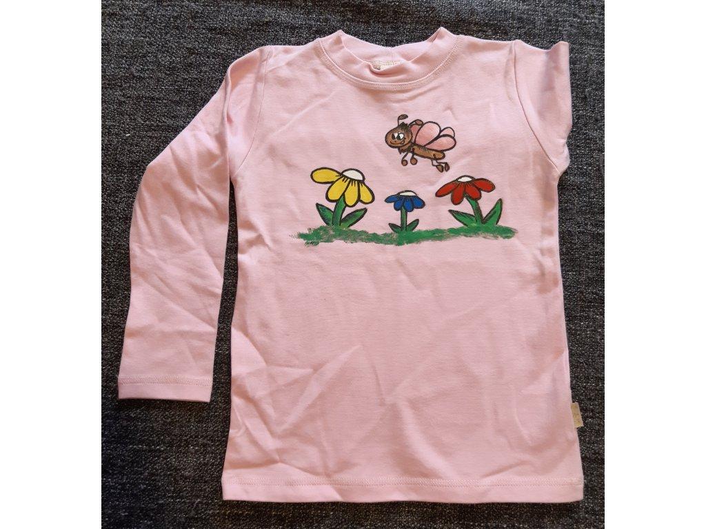 Ručně malované tričko - květiny a motýl