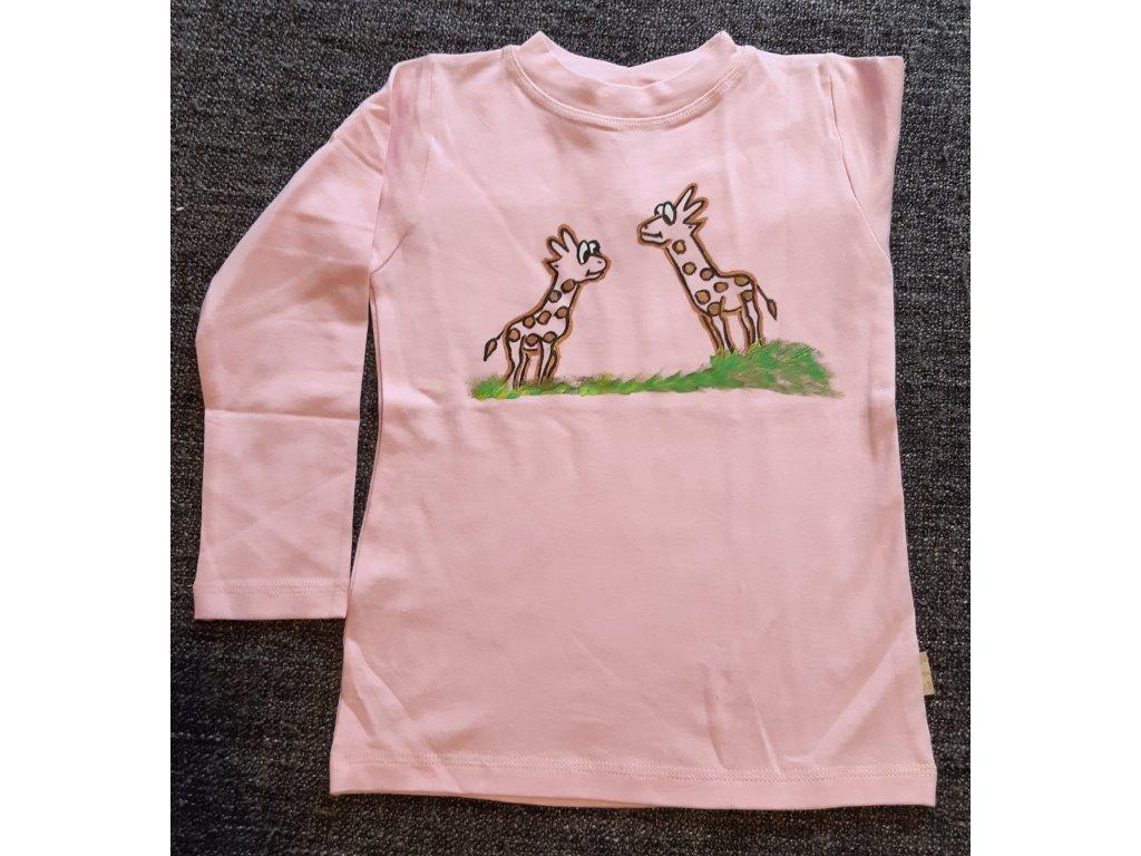 Ručně malované tričko - dvě žirafy