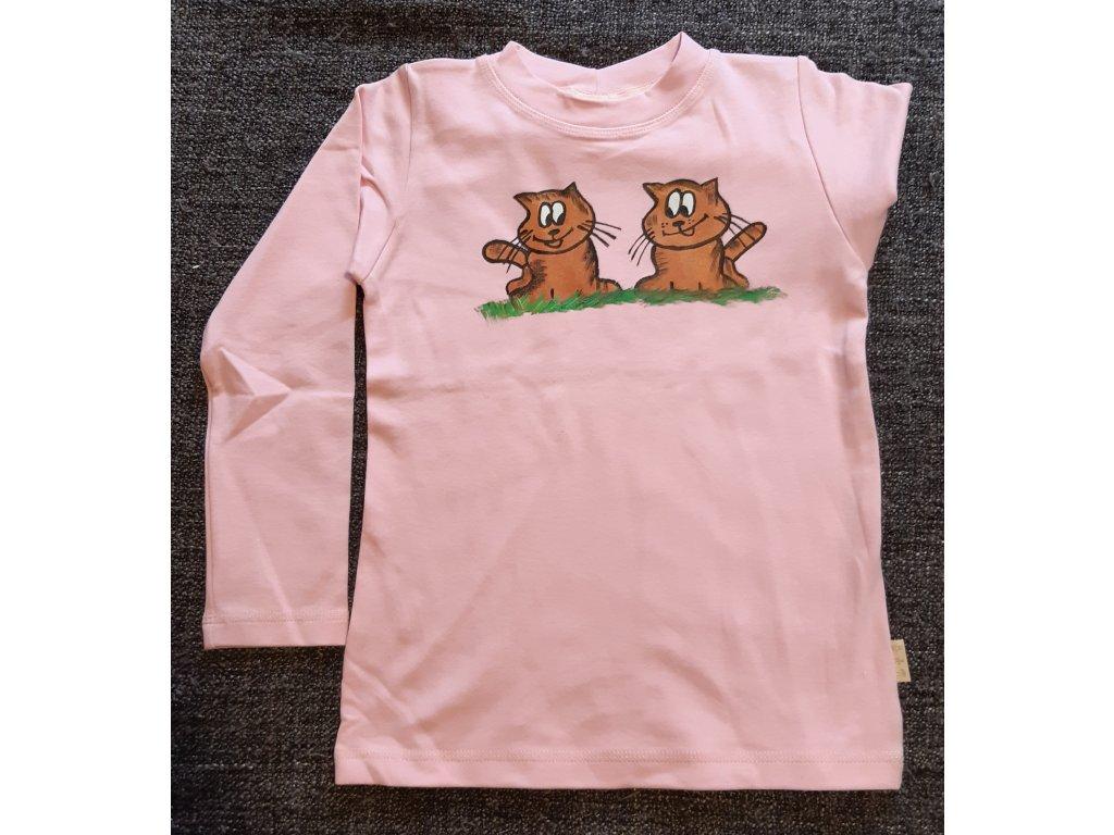 Ručně malované tričko - dvě kočky