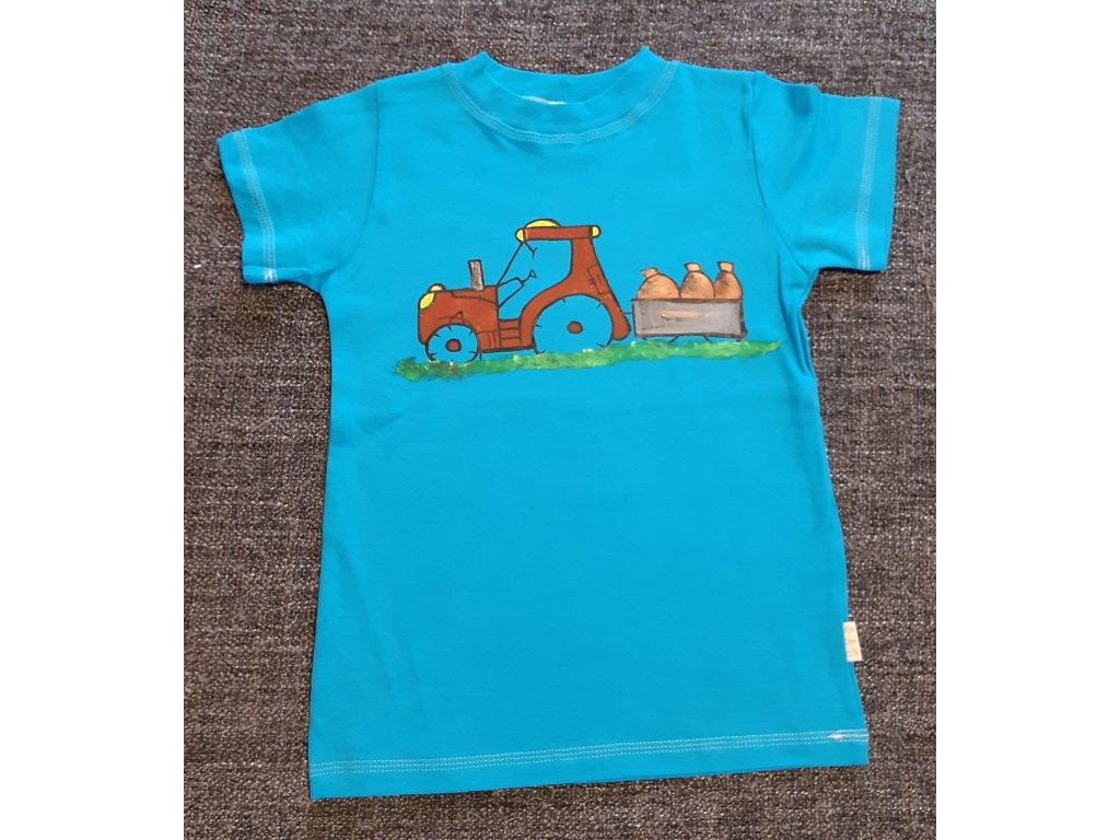 Ručně malované tričko - traktor veze pytle