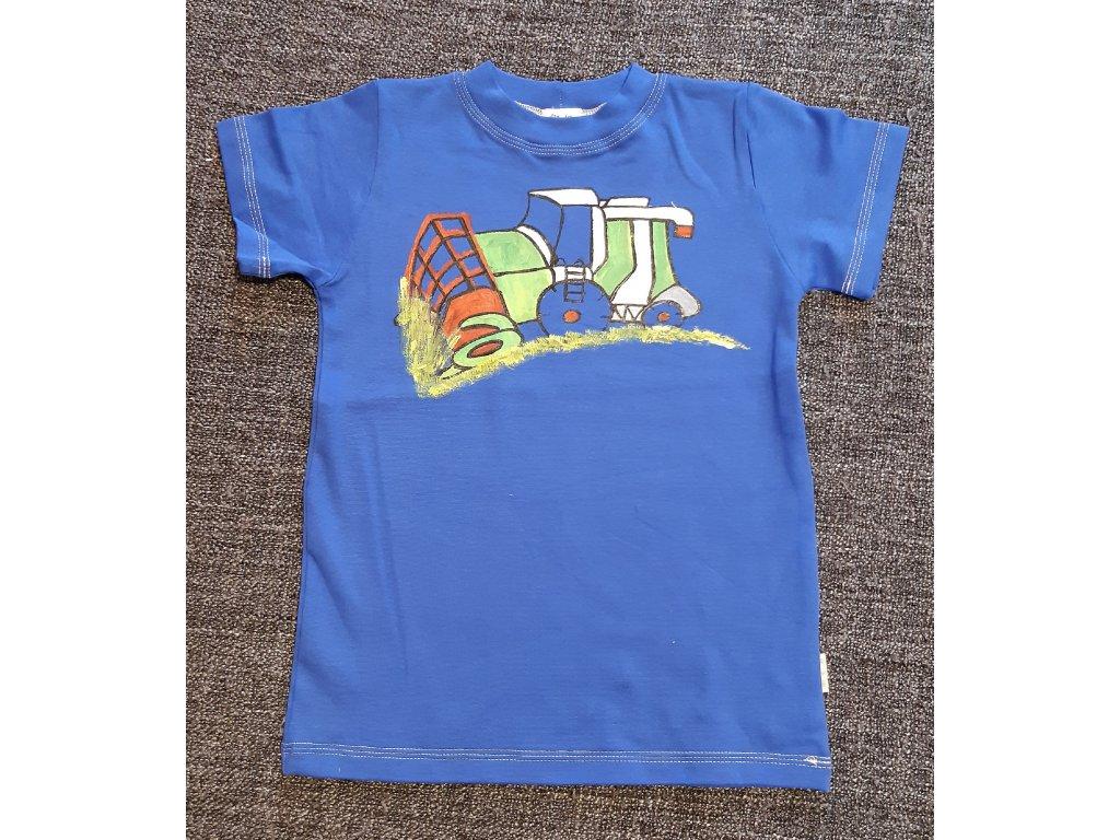 Ručně malované tričko - kombajn sklízí