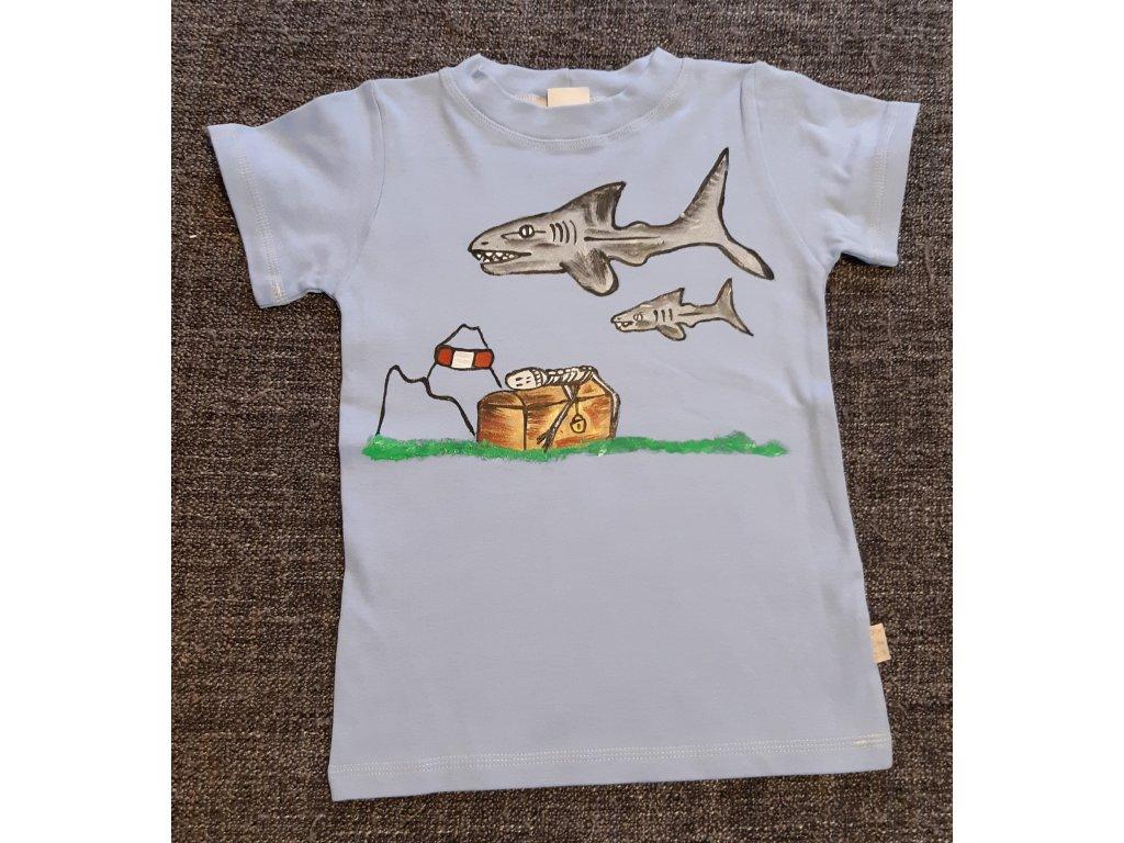 Ručně malované tričko - žraloci