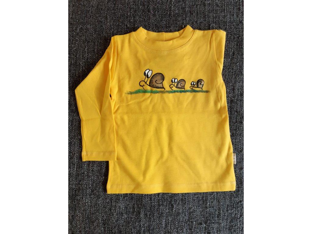 Ručně malované tričko - šnečí rodinka