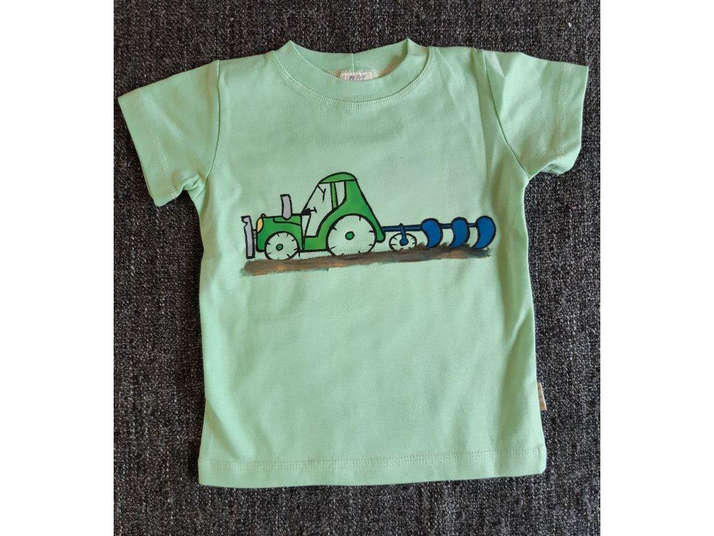 Ručně malované tričko - traktor orba