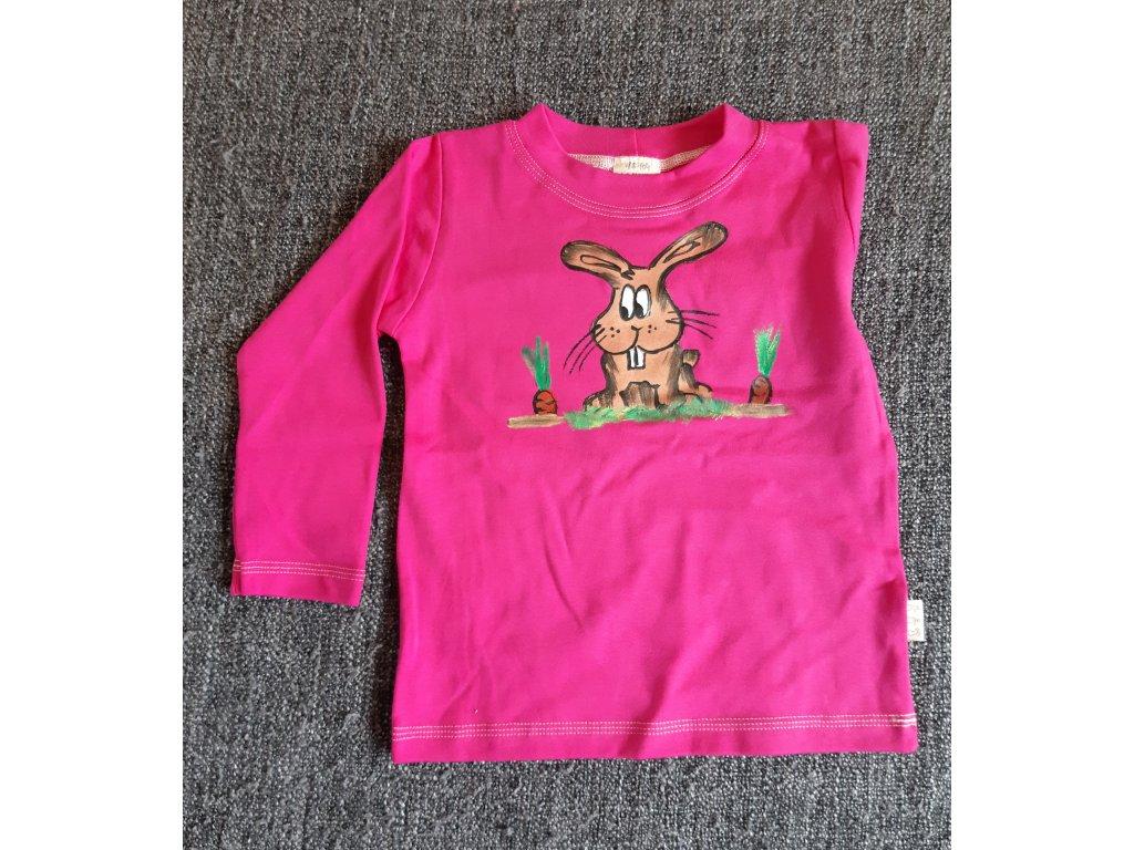 Ručně malované tričko - zajíček