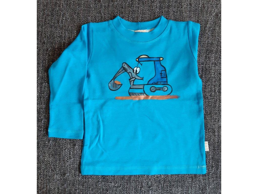 Ručně malované tričko - pásový bagr