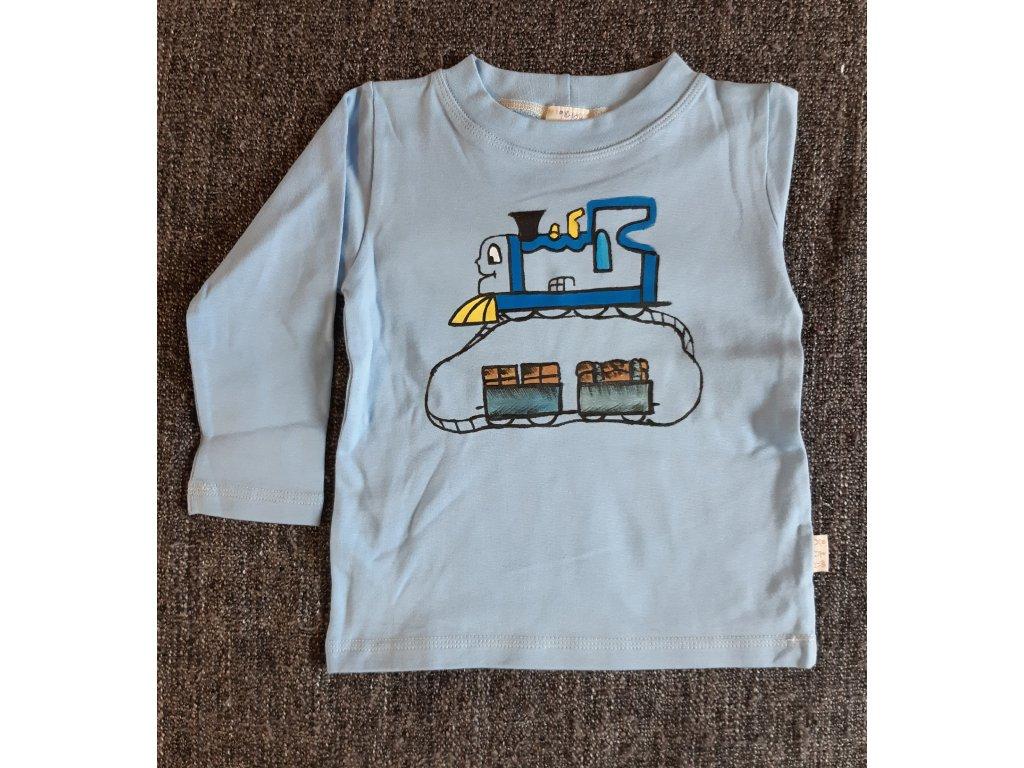 Ručně malované tričko - vláček s vagóny