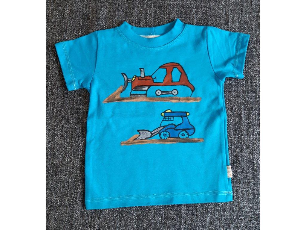 Ručně malované tričko - buldozer a malý bagr