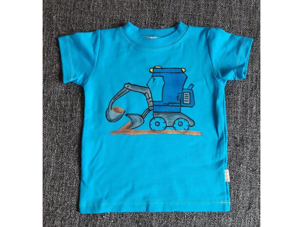 Ručně malované tričko - kolový bagr