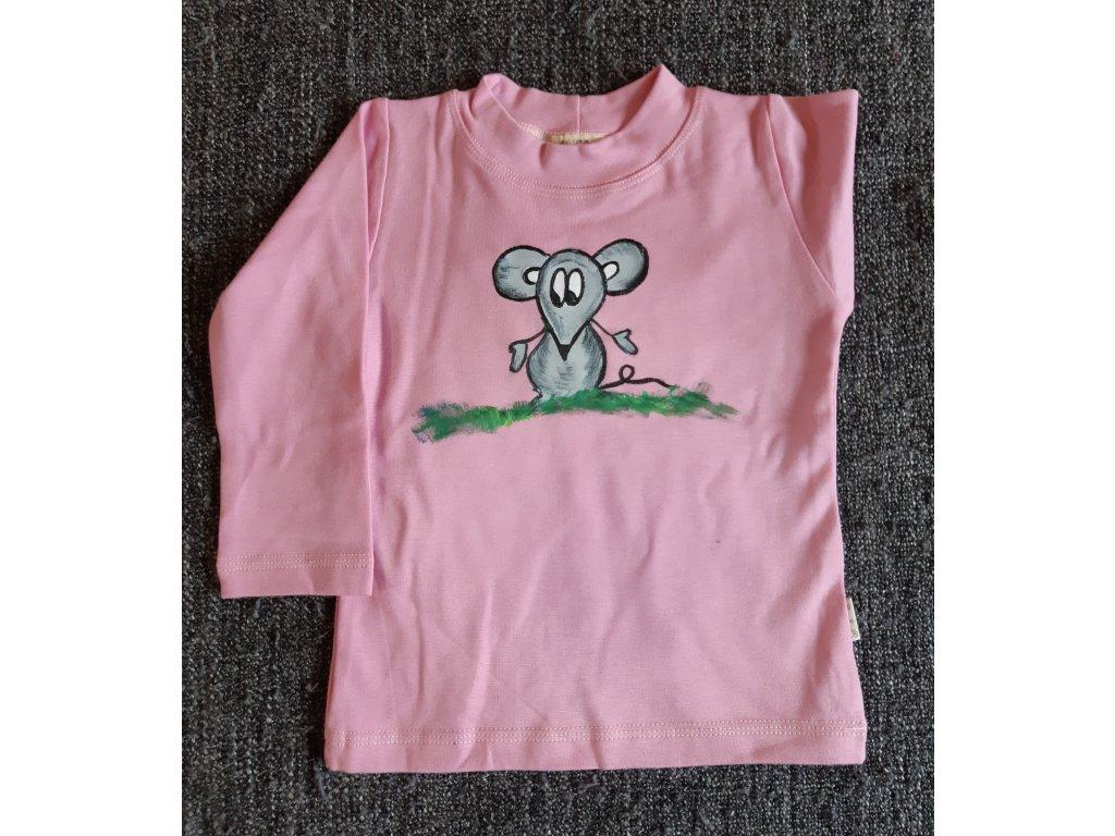 Ručně malované tričko - myška