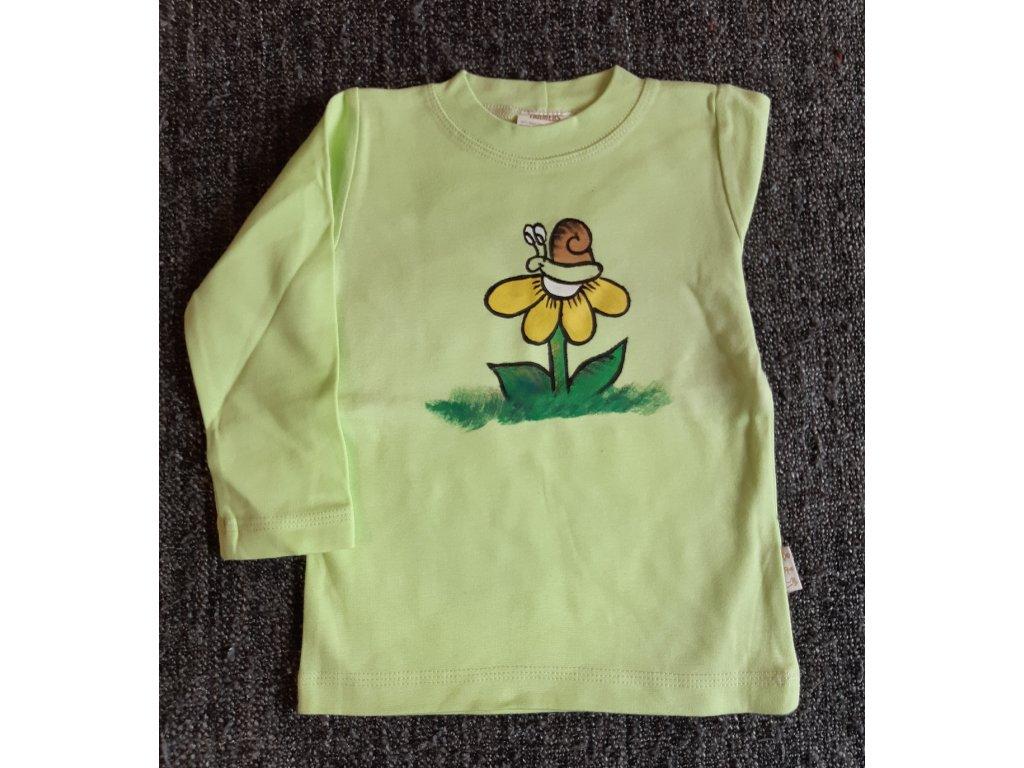 Ručně malované tričko - šnek na květině