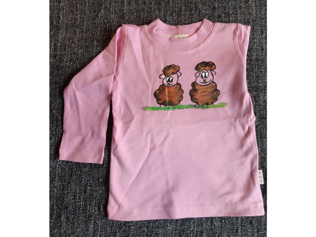 Ručně malované tričko - dvě ovečky
