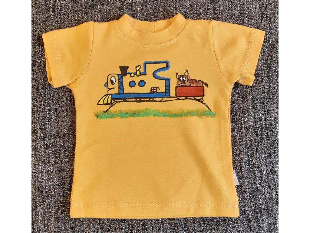 Ručně malované tričko - pískový vláček