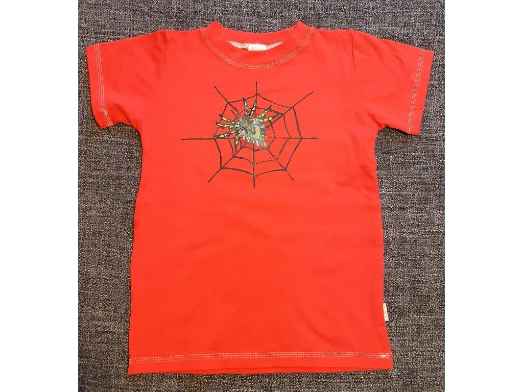 Ručně malované tričko - pavučina