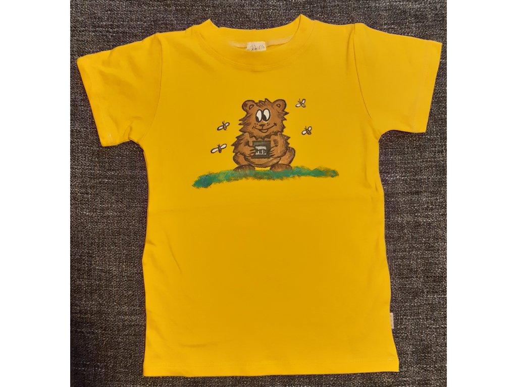 Ručně malované tričko - medvěd