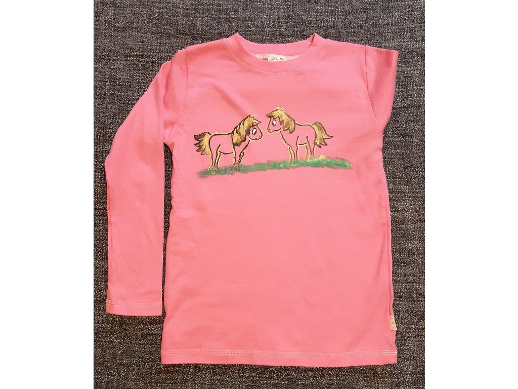 Ručně malované tričko - dva koníci