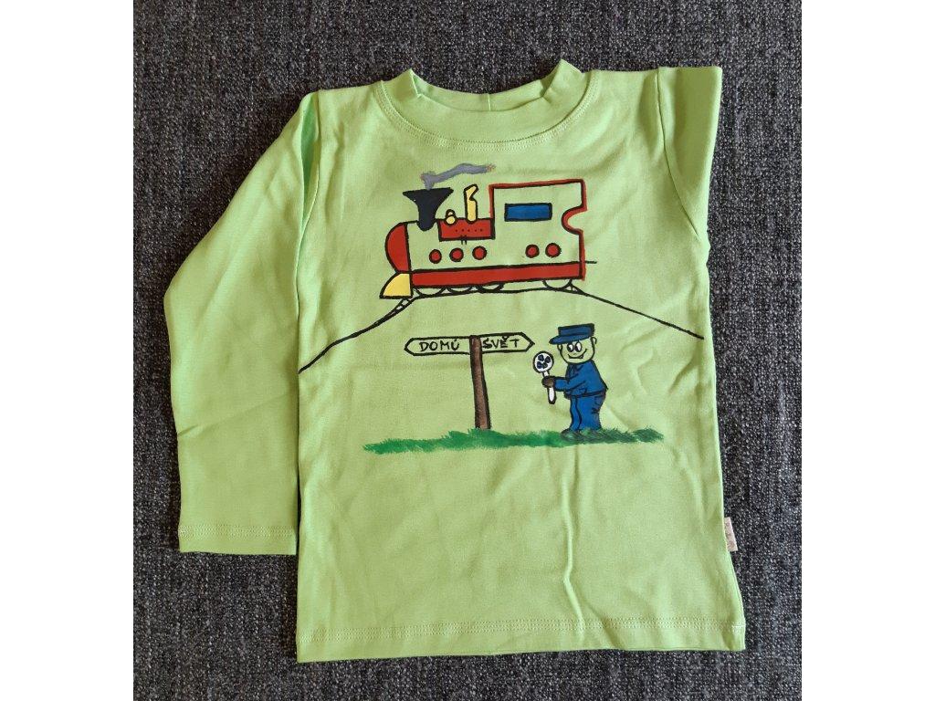 Ručně malované tričko - vláček se strojvůdcem