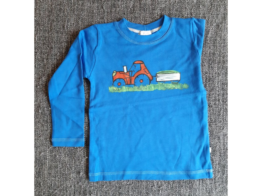 Ručně malované tričko - traktor s vlečkou