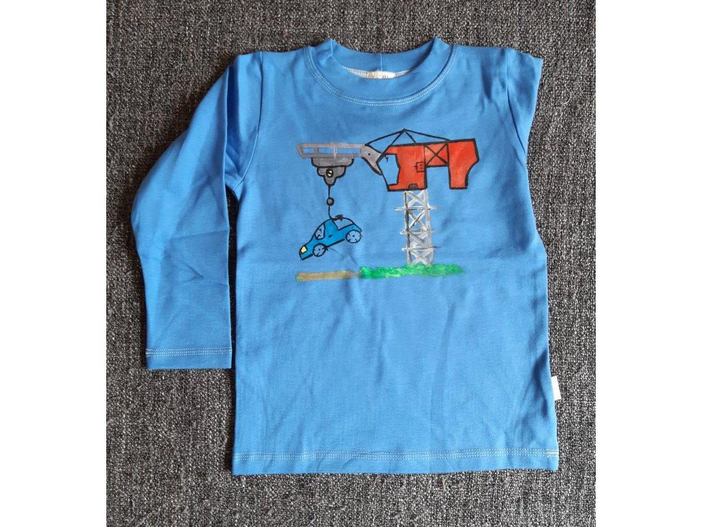 Ručně malované tričko - jeřáb