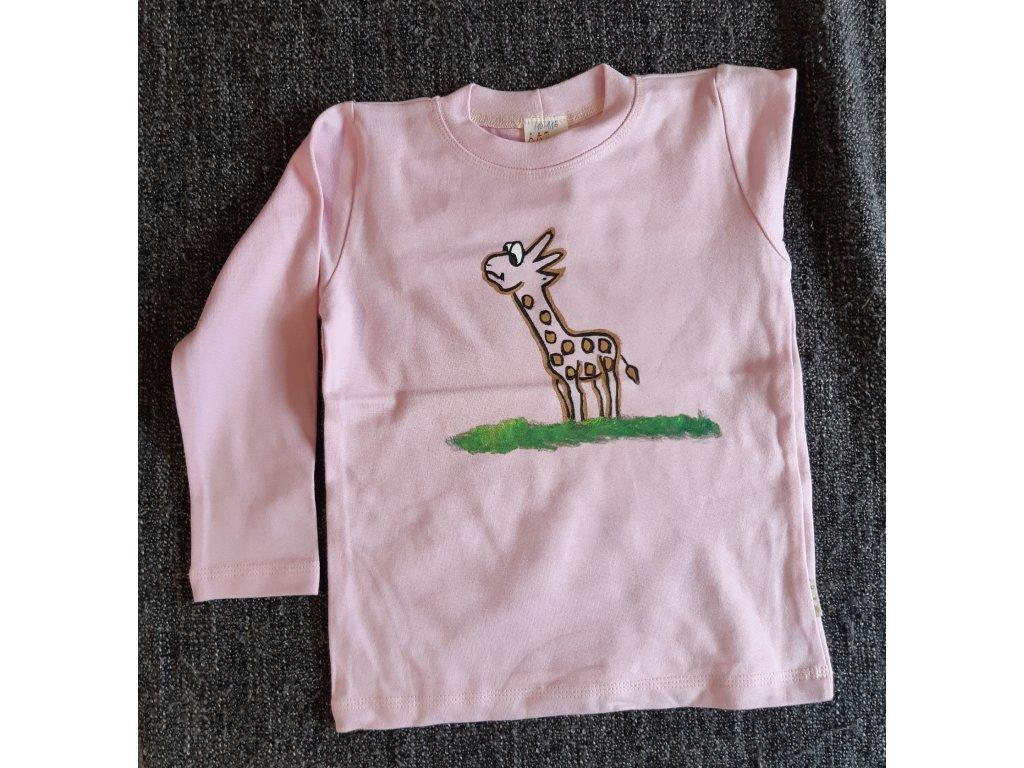 Ručně malované tričko - žirafa