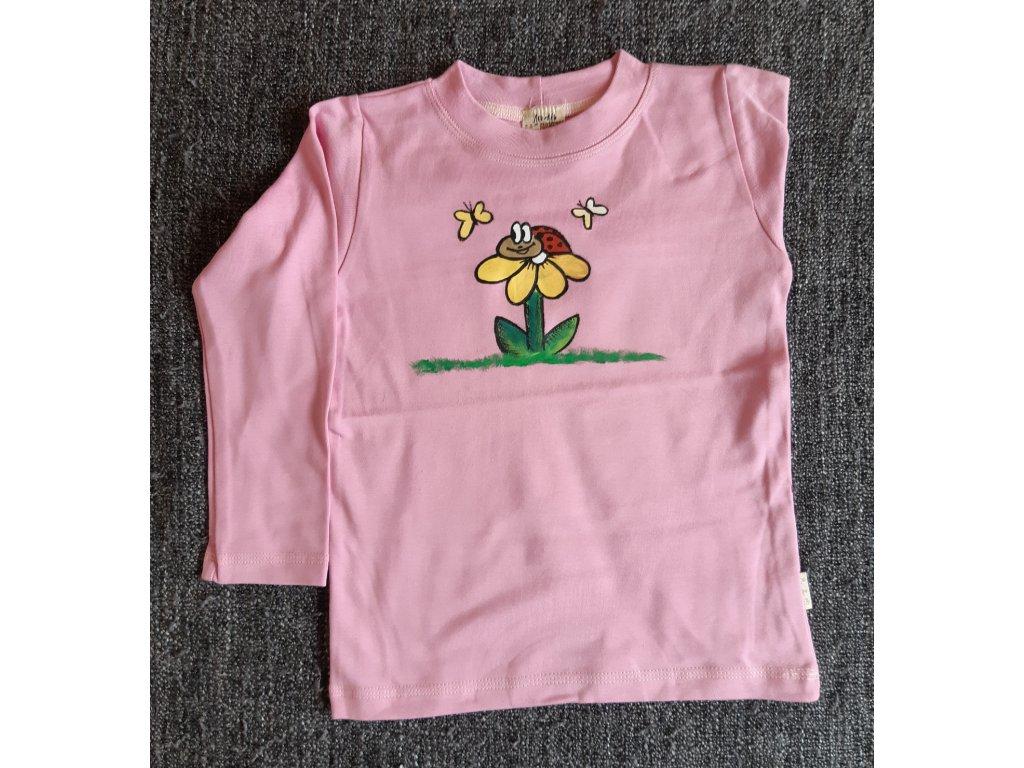 Ručně malované tričko - květina s beruškou a motýlky
