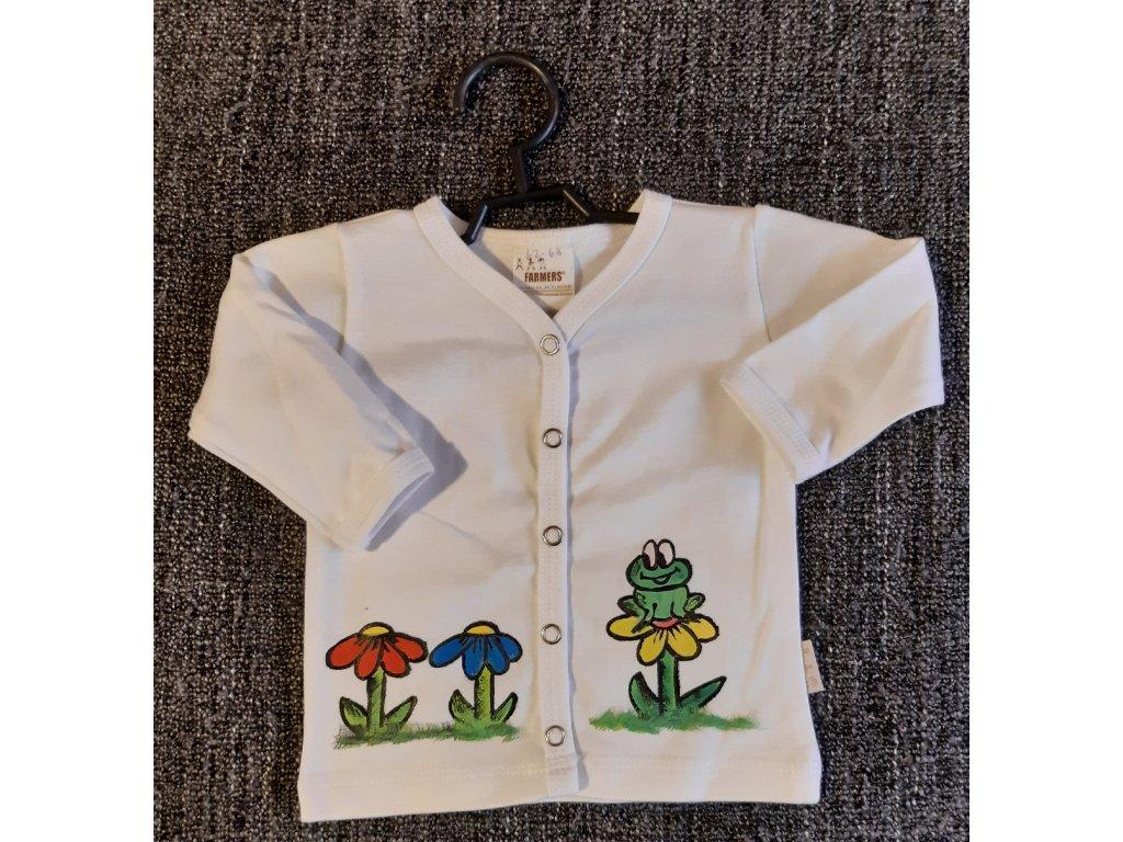 Ručně malovaný dětský propínací kabátek - louka