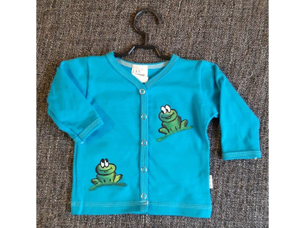 Ručně malovaný dětský propínací kabátek - dvě žabky