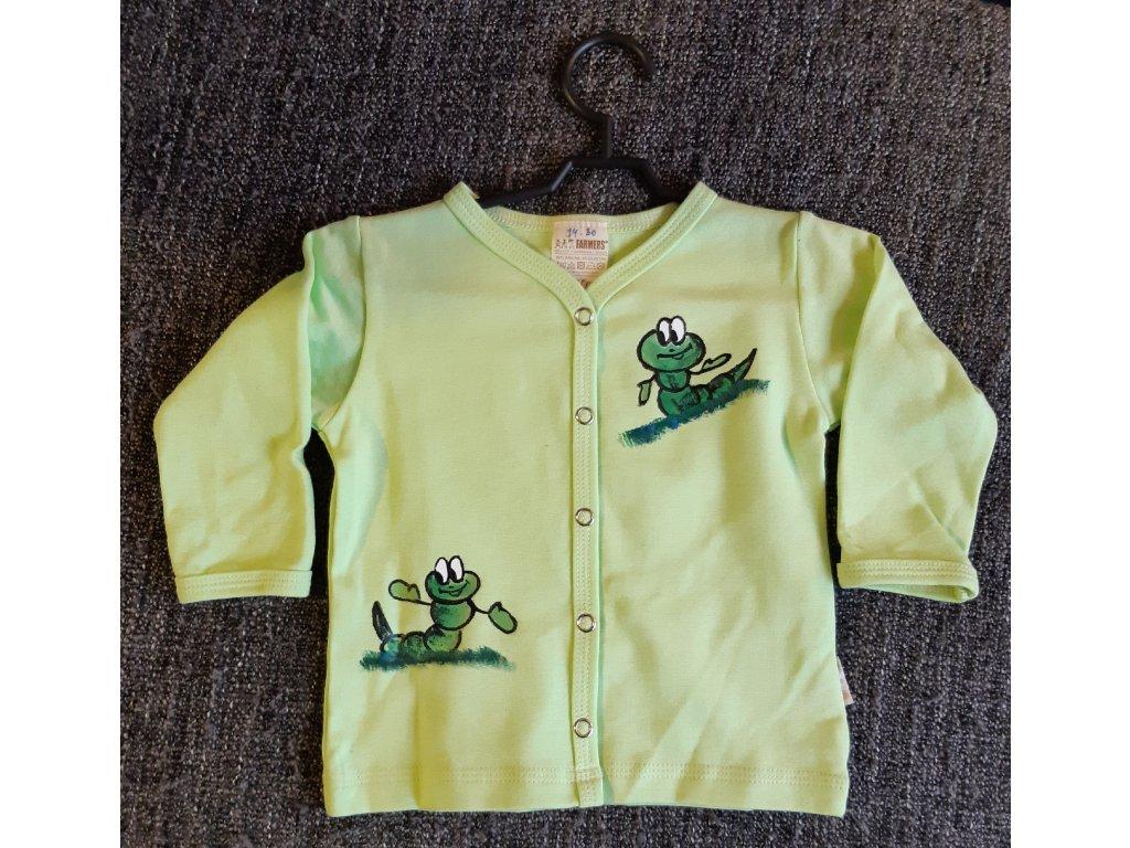 Ručně malovaný dětský propínací kabátek - dva červíci